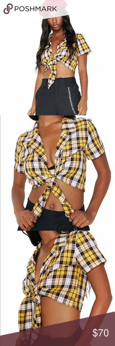 I AM GIA Keidis Yellow Plaid Clueless Crop Top New Without Tags! I AM GIA Yellow Plaid Clueless Keidis Tie Front Crop Top  Cher Herowitz you betta eat your lil' heart out!  This yellow plaid crop top has a cute collar and ties at the bottom cuz you're a knotty babe. Product Details Polyester Blend Hand Wash Cold, Hang Dry Size & Fit Our Doll wears S and is 5'8 Size Small Sold Out In All Stores And Online This Shirt Is A Super Cute Must Have! I AM GIA Tops Crop Tops