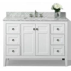 Images On Shop Ancerre Designs Maili White Undermount Single Sink Birch Bathroom Vanity with Natural Marble Top