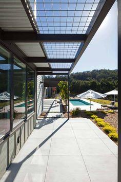 Modern Trellis Design Ideas, Pictures, Remodel and Decor Pool Porch, Patio Roof, Pergola Patio, Pergola Plans, Pergola Kits, Garage Pergola, Pergola Curtains, Mosquito Curtains, Pergola Designs