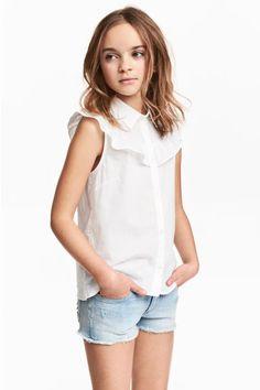 Fırfırlı Kolsuz Bluz - Beyaz - Kids | H&M TR 1