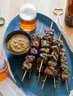 beef satay, Asian food, lemongrass, ginger and lime
