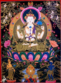42-Black Gold Chenrezig Thangka Painting-B.jpg 650×876 пиксел.