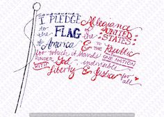Free hand-lettered flag printable for the Fourth of July or Memorial Day Patriotic Crafts, July Crafts, Patriotic Quotes, Patriotic Pictures, Happy 4 Of July, 4th Of July, Fourth Of July Quotes, I Pledge Allegiance, Independance Day