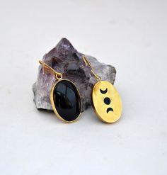 moon phases earrings/black stone earrings/bohemian earrings by AbyCraft on Etsy