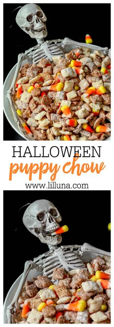 Puppy Chow Black and White Halloween Puppy Chow recipe on { } Recipe includes white chocolate chips, milk chocolate chips, powdered sugar, chex cereal, & candy corns.Inclusion Inclusion or Include may refer to: Puppy Chow Recipes, Chex Mix Recipes, Fall Recipes, Holiday Recipes, Corn Recipes, Snacks Recipes, Holiday Treats, Recipies, Halloween Appetizers