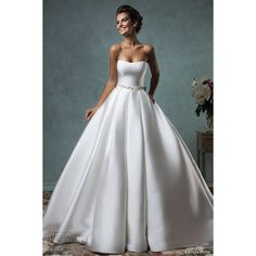 Vintage Wedding Dresses Strapless Satin Ball Gown with Bow Saree Elegant Bridal Gowns Ruched Vestido De Noiva 2015