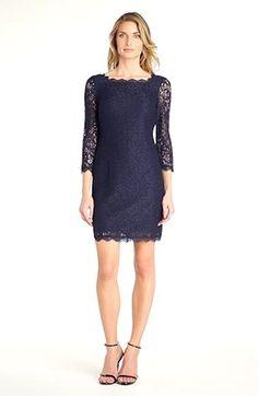 Adrianna Papell Long Sleeve Lace Sheath Dress (Regular & Petite) | Nordstrom