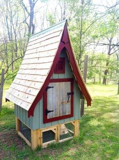 Darling whimsical chicken coop seen on Craig's List! I could see it in my yard and he colonial red is a perfect match to my shutters and door.