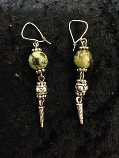 Ottoman Turkish style earrings with green swirled beads on Etsy, $22.00