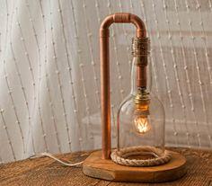 Glass Lamp Copper Lamp Steampunk Lamp Seaside Style by MarzaShop