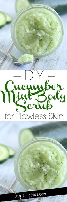 DIY Cucumber Mint Body Scrub#scrub#