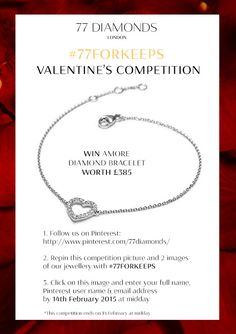 Enter our Valentine's competition to win the Amore diamond bracelet in white gold. 77 Diamonds, Wedding 2015, 7 And 7, Girls Best Friend, Truffles, Dog Tag Necklace, Competition, White Gold, Valentines