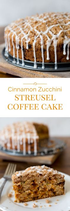 A tender, moist Cinnamon Zucchini Streusel Coffee Cake loaded with good for you zucchini and spicy cinnamon chips.