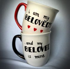 His and Hers Mugs, Set of Two (2) Ceramic Cups