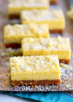 These Lemon Drop Bars are extra creamy and topped with candied lemon zest for the BIGGEST lemon flavor possible! So easy to make, deliciously sweet and tart, you'll find these Lemon Drop Bars hard to resist! Lemon Dessert Recipes, Sweet Recipes, Baking Recipes, Cookie Recipes, Dessert Bars, Cake Bars, Food Cakes, Fudge, Tray Bakes