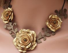 Flower necklace leather necklace choker gold by Leatherblossoms