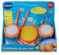 Kidibeats Drum set for Kids Toy Music Learning Education Fun Toddlers 3 pads  #VTech