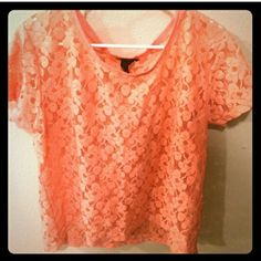 1/2 OFF H&M Top Lace coral top. Cap sleeves. Scoop neckline. Light and breezy for summer! Coral is popular this season! H&M Tops