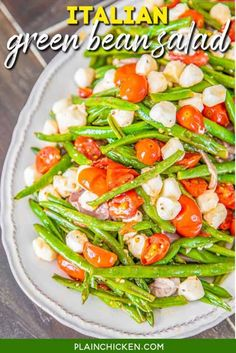 No Boil Baked Penne - Plain Chicken Bacon Cheeseburger Casserole, Pizza Casserole, Chicken Casserole, Farmers Casserole, Spaghetti Casserole, Green Bean Salads, Green Beans And Tomatoes, Green Bean Recipes, Sauce Chasseur