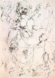Study of nursing Madonna and profile heads - Leonardo da Vinci