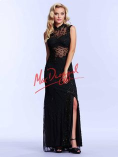 Black Jersey Prom Dress with High Collar and Slit | Mac Duggal 1980M