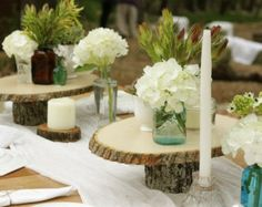 7 Rustic Wedding Centerpiece Pedestal Tier Tree Wood Slice Large Mason Jar