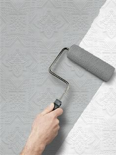I have had a love affair with paintable textured wallpaper for many years now. For those of you who are not familiar with it, it's a thick wallpaper that you hang Thick Wallpaper, Paintable Textured Wallpaper, Prepasted Wallpaper, Wallpaper Ideas, Wallpaper Designs, Wallpaper Companies, Lowes Home, Bathroom Wallpaper, Wallpaper Stairs