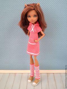 Купить Платье с капюшоном на МХ - рыжий, одежда для кукол, monster high, мх, монстер хай