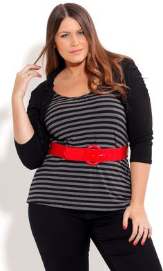 City Chic NAUTICAL SHRUG TOP - Plus Size Fashion