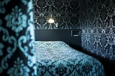 bedroom, damask wallpaper