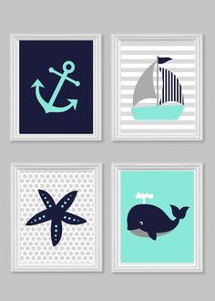 Nautical Nursery Decor Children Aqua Gray Navy Gender Neutral Room Decor Toddler Baby Shower Gift Set of Four Prints Ocean Beach House Decor by SweetPeaNurseryArt on Etsy