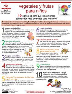 10 consejos para que los alimentos sanos sean más divertidos para los niños. Para animar a los niños a comer vegetales y frutas, hágalas divertidas. Provea ingredientes sanos y permita que los  niños ayuden en su preparación según sus edades y destrezas. Los niños tal vez deseen probar comidas que en el pasado  han rechazado si ayudaron a prepararlas.