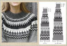 Fair Isle Knitting Patterns, Knitting Machine Patterns, Knitting Charts, Knitting Stitches, Knitting Designs, Hand Knitting, Icelandic Sweaters, Sweater Design, Double Knitting