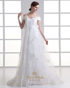 lindadress.com Offers High Quality Ivory Tulle Spaghetti Strap V Neck Wedding Dress With Floral Appliques,Priced At Only USD USD $215.00 (Free Shipping)