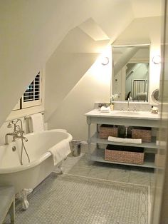 Luscious Attic bedroom addition,Attic room interior design and Attic renovation ideas. Loft Bathroom, Upstairs Bathrooms, Small Bathroom, Cream Bathroom, Bathroom Toilets, White Bathroom, Master Bathroom, Attic Rooms, Attic Spaces