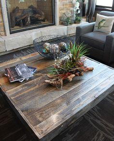 Reclaimed Wood Square Coffee Table.