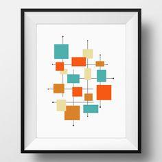 Mid Century Modern Art, Squares - INSTANT download - Printable Digital file - Teal, Orange, Tan, Brown, Mid-Century Modern Print, 3 Sizes