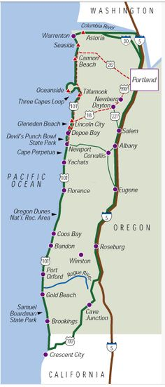 Staying in Portland for the weekend? A trip to the Oregon Coast is a must! Here's a map and suggested itinerary.the entire Oregon beach is publicly owned dotted with numerous state parks, most of which are free for a day trip. Oregon Vacation, Oregon Road Trip, Oregon Trail, West Coast Road Trip, Pacific Coast Highway, Vancouver, Oregon Washington, Thinking Day, To Infinity And Beyond