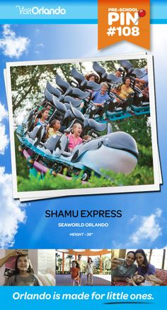 """Shamu Express - Introduce your young adventurers to the excitement and fun of coaster rides while enjoying kid-sized thrills with gentle turns and drops. Minimum height: 38"""" #VisitOrlando #Seaworld #Orlando #Preschool #littleones #travel #familytravel"""