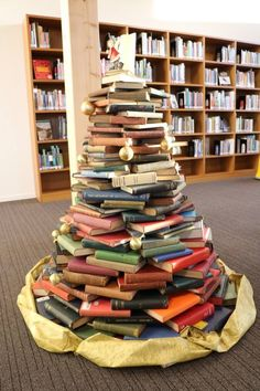 The library Christmas book tree.