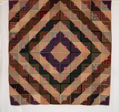 Q8785 Wool Challis Log Cabin Barn Raising  c.1865  87 x 90  PA  Description From Rocky Mountain Quilts:  A stunning color palette including lavender, green and magenta make this unused antique wool challis Log Cabin quilt extra special.
