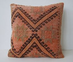 Handwoven Turkish Rug Pillow Cover, Decorative Pillows, Accent Pillow, Embroidered pillow, Kilim Pillow Cover, Vintage Pillow, Brown Pillow