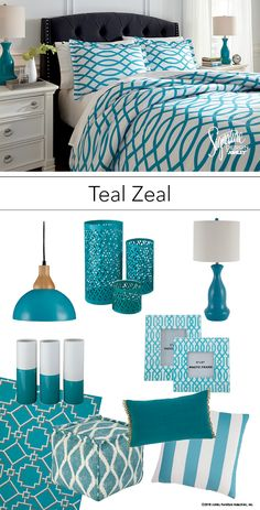 Teal Zeal - Teal Turquoise Bedroom Bedding and Accessories - Ashley Furniture - #AshleyFurniture - #Teal #Turquoise