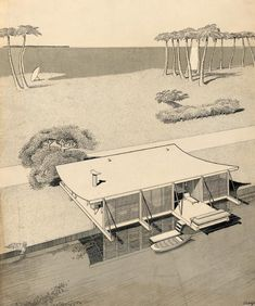Mid-century lake house / drawing by Paul Rudolph