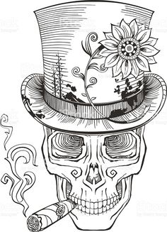 day of the dead, baron samedi drawing royalty-free stock vector art Skull Coloring Pages, Love Coloring Pages, Printable Adult Coloring Pages, Coloring Books, Colorful Drawings, Colorful Pictures, Vodoo Tattoo, Caveira Mexicana Tattoo, Baron Samedi