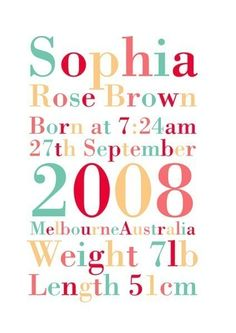 Great birth gift or birth announcement. Alternative color schemes good also.