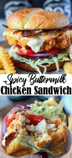 Spicy Buttermilk Crispy Chicken Sandwich This Spicy Buttermilk Fried Chicken Sandwich is fried to perfection and absolutely heavenly! Chicken Sandwich Recipes, Fried Chicken Sandwich, Oven Fried Chicken, Roasted Chicken, Chicken Gravy, Crispy Chicken Wraps, Crispy Chicken Burgers, Steak Sandwich Recipes, Recipe Chicken