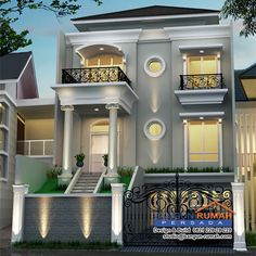 Desain Rumah Klasik 3 Lantai di Lahan 10 x 21 Best Small House Designs, Indoor Courtyard, Residential Building Design, House Design Pictures, Dream Mansion, House Front Design, House Elevation, Dream House Plans, Classic House
