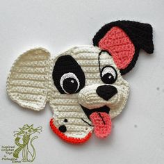 Crochet Pattern. Crocheted 3D Applique. Amigurumi dog muzzle. Funny crochet puppy. Patch (101 Dalmatians). Kids clothes decoration #amigurumipattern #crochetpattern #applique #patch #dalmatian #dogs #crochet