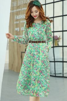 Sweet Floral Belted Chiffon Dress